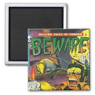 Beware comic book 2 inch square magnet