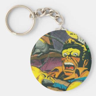 Beware comic book basic round button keychain