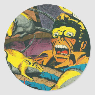 Beware comic book classic round sticker