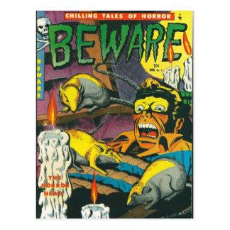 Beware comic book postcard