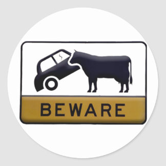 Beware - Cow Car Classic Round Sticker