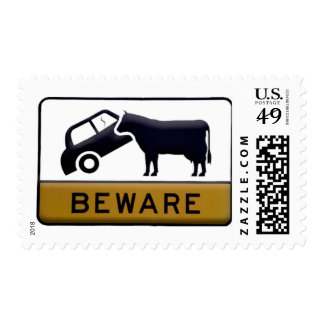 Beware - Cow Car Postage Stamps