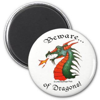 Beware Dragons 2 Inch Round Magnet