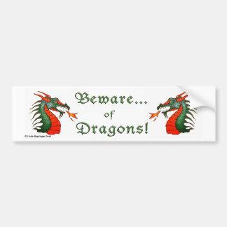 Beware Dragons Bumper Sticker