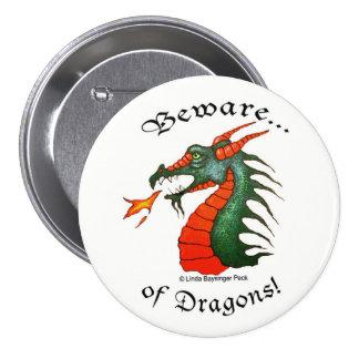 Beware Dragons Pinback Button