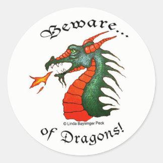Beware Dragons Classic Round Sticker