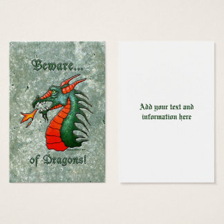 Beware Dragons Green Faux Stone Business Card