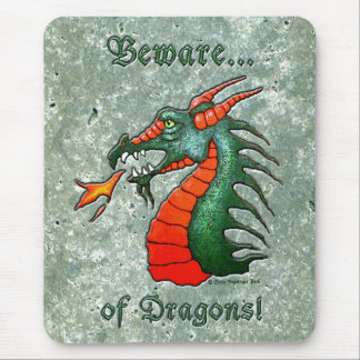 Beware Dragons Green Faux Stone Mouse Pad