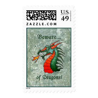Beware Dragons Green Stone Look Postage