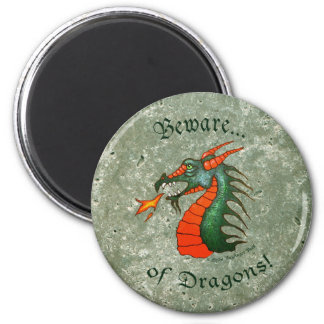 Beware Dragons Stone Green 2 Inch Round Magnet