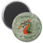 Beware Dragons Stone Magnet