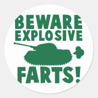 Beware EXPLOSIVE FARTS! Classic Round Sticker