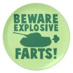 Beware EXPLOSIVE FARTS! Dinner Plates