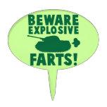 Beware EXPLOSIVE FARTS! Oval Cake Picks