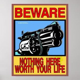 BEWARE, GUN OWNER SIGN