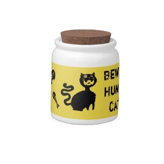 Beware Hungry Cats~Cat treat Jar