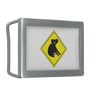 Beware Koalas, Traffic Warning Sign, Australia Rectangular Belt Buckle