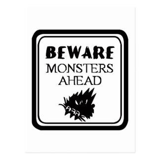 Beware Monsters Postcard