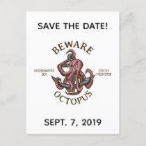 Beware Octopus Nautical Creature Save the Date Invitation Postcard