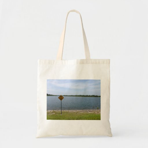 Beware of Alligator Sign by pond Canvas Bags