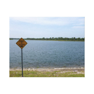 Beware of Alligator Sign by pond Canvas Print