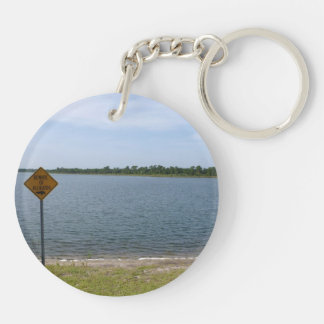 Beware of Alligator Sign by pond Double-Sided Round Acrylic Keychain
