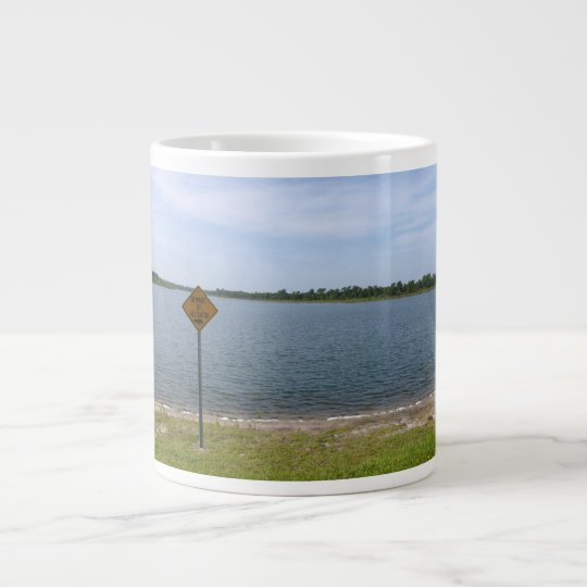 Beware of Alligator Sign by pond Giant Coffee Mug