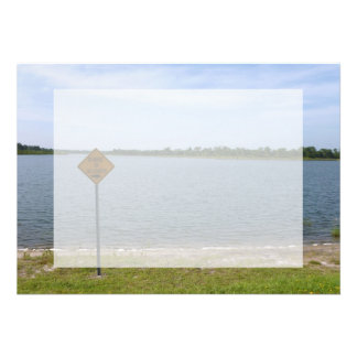 Beware of Alligator Sign by pond Personalized Invite