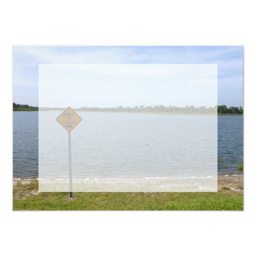 Beware of Alligator Sign by pond 5x7 Paper Invitation Card