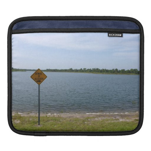 Beware of Alligator Sign by pond iPad Sleeve