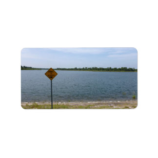 Beware of Alligator Sign by pond Address Label