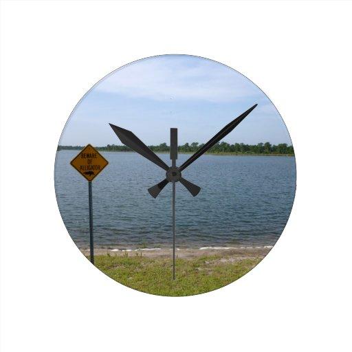 Beware of Alligator Sign by pond Round Clock