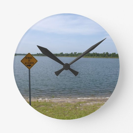 Beware of Alligator Sign by pond Round Clock