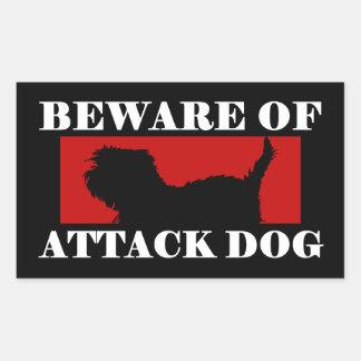 Beware of Attack Dog - Affenpinscher Rectangular Sticker