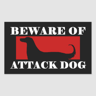 Beware of Attack Dog - Afghan Hound Rectangular Sticker