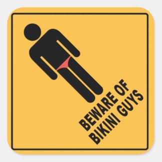 Beware of Bikini Guys Square Sticker
