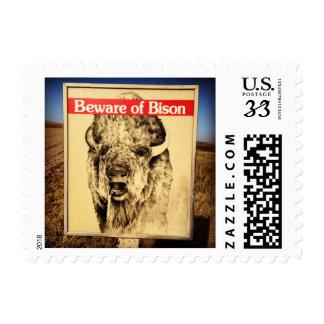 Beware of Bison Postage Stamp