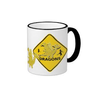 Beware of Cartoon Dragons Sign Mugs