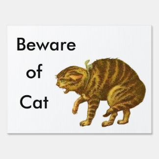 Beware of Cat Lawn Sign