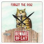 Beware of Cat Square Wallclocks