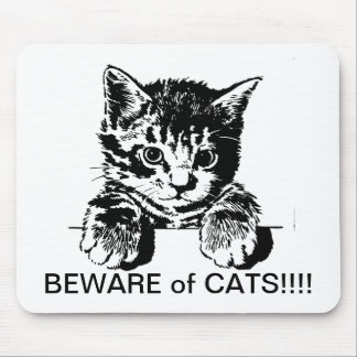 beware of cats mouse pad