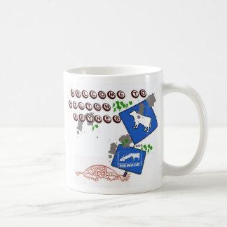 Beware of cows classic white coffee mug