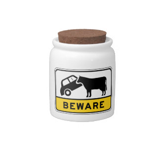 Beware of Cows, Traffic Warning Sign, Australia Candy Jar