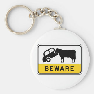 Beware of Cows, Traffic Warning Sign, Australia Keychain