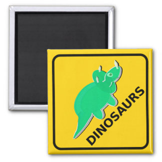 Beware of Cute Cartoon Dinosaurs Sign Triceratops 2 Inch Square Magnet