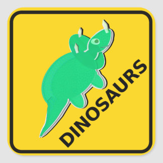 Beware of Cute Cartoon Dinosaurs Sign Triceratops Square Sticker