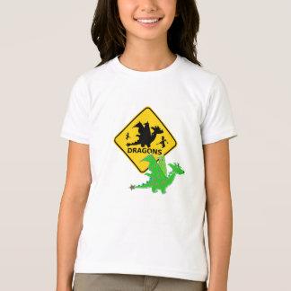 Beware of Cute Cartoon Dragons Sign T-Shirt