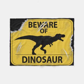Beware of Dinosaur (damaged) Fleece Blanket