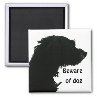 Beware of Dog 2 Inch Square Magnet