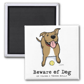 Beware of Dog (if you're a tennis ball) 2 Inch Square Magnet